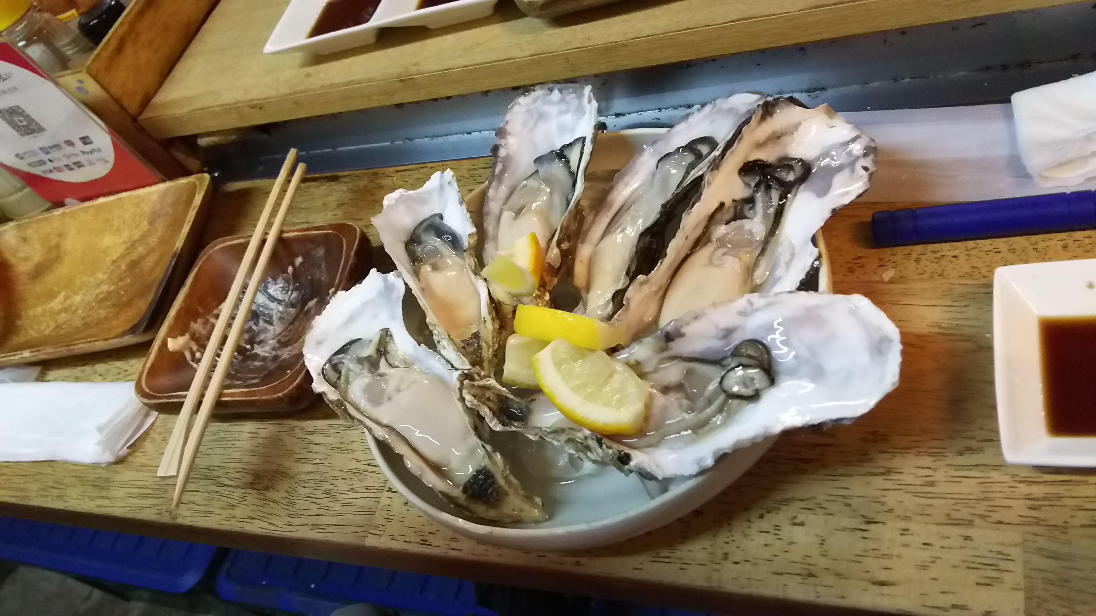 檸檬と生牡蠣