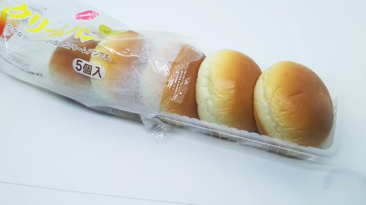 5個の薄皮クリームパン