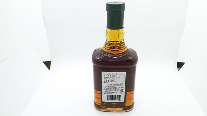 ジムビーム ライのボトルの裏面