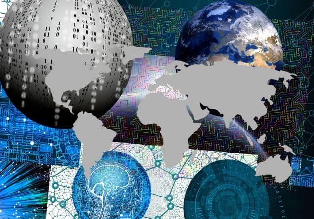 デジタルなイメージと地球の絵